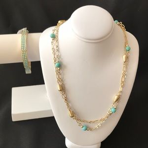 Gold tone necklace and bracelet